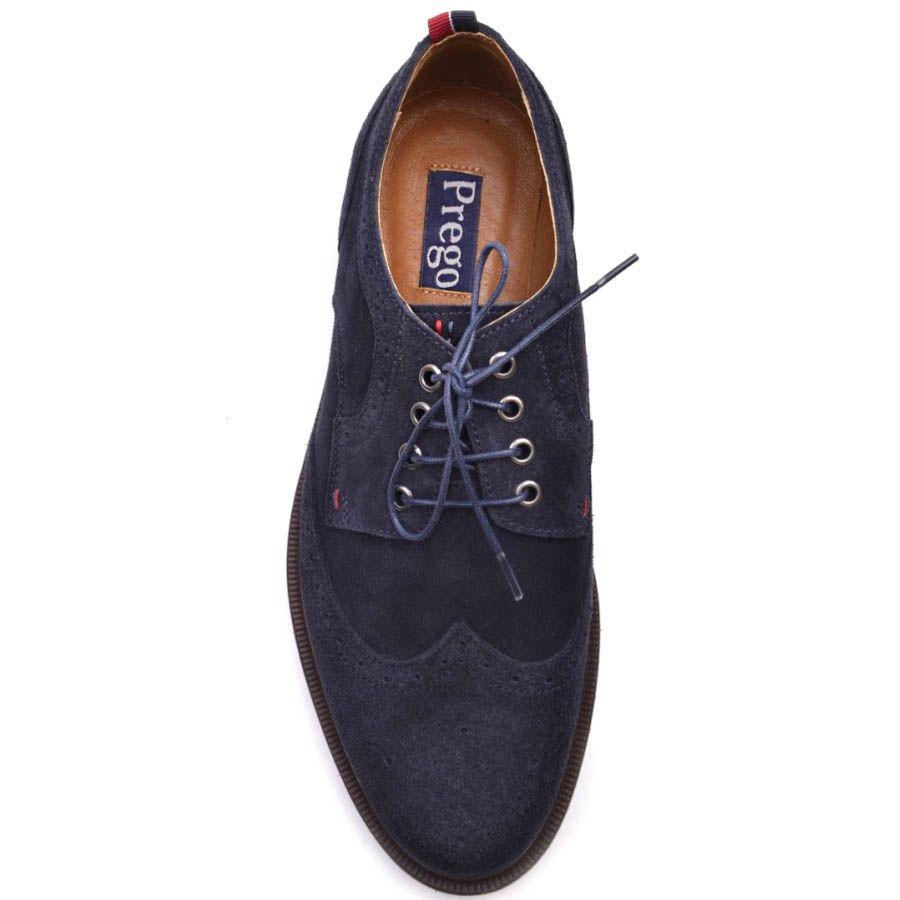 Туфли-броги Prego синего цвета замшевые с тонкой синей линией вдоль подошвы
