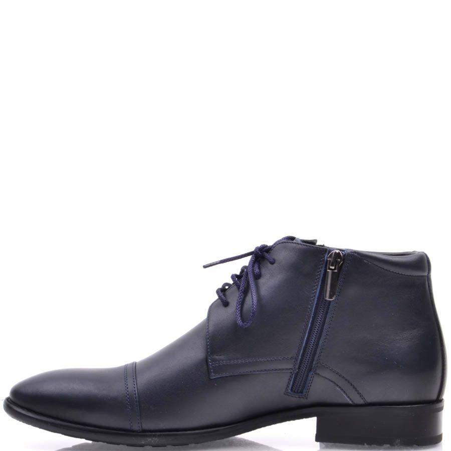 Туфли Prego высокие синего цвета с узким носком и на шнуровке