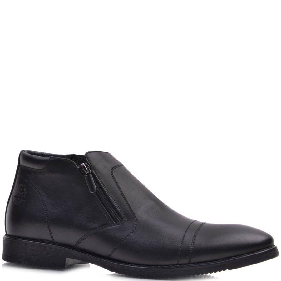 Ботинки Prego зимние черного цвета со строчками поперек носка