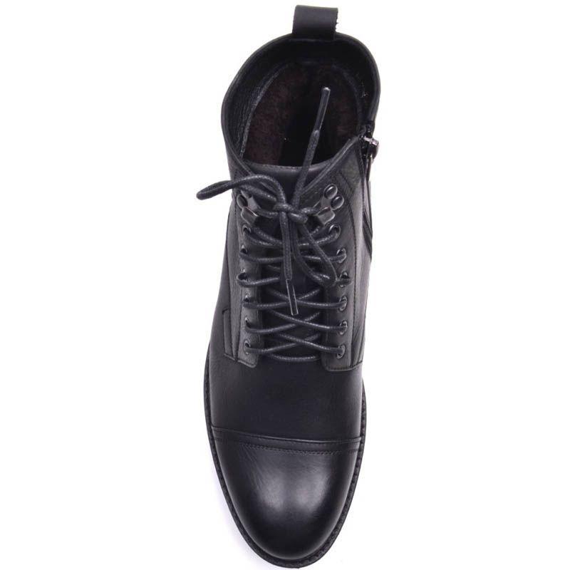 Ботинки Prego зимние черного цвета из матовой кожи с мехом на шнуровке