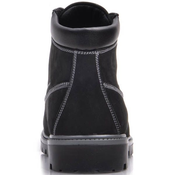 Ботинки Prego зимние черного цвета из нубука с белыми строчками