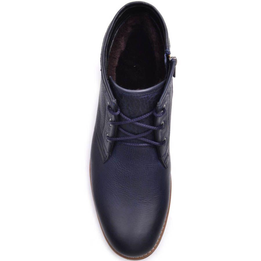 Ботинки Prego зимние из кожи синего цвета с коричневой вставкой вдоль подошвы