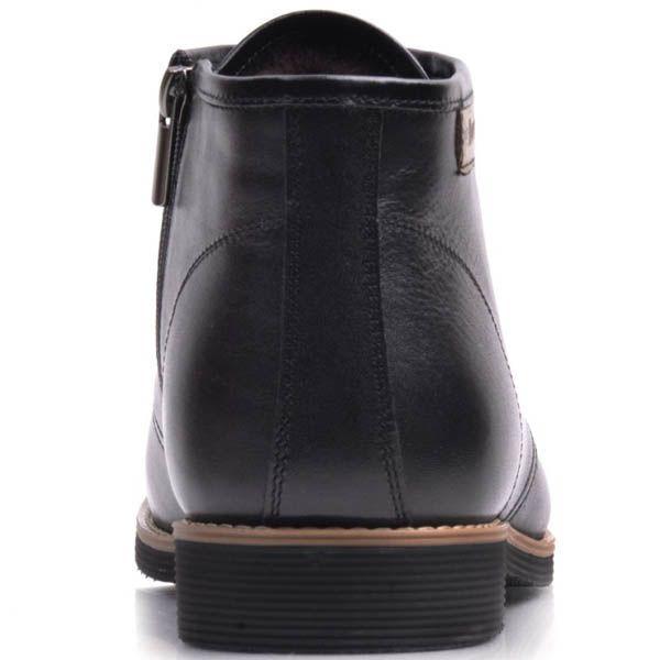 Ботинки Prego зимние из кожи черного цвета с коричневой вставкой вдоль подошвы