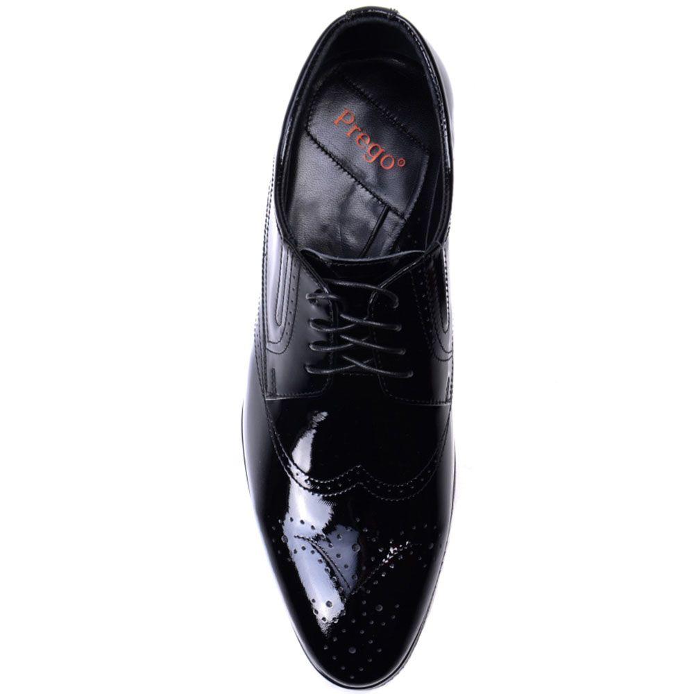 Туфли-броги Prego из натуральной лаковой кожи черного цвета