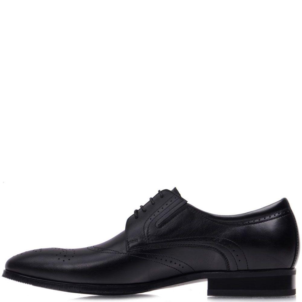 Туфли-броги Prego из натуральной кожи черного цвета на шнуровке