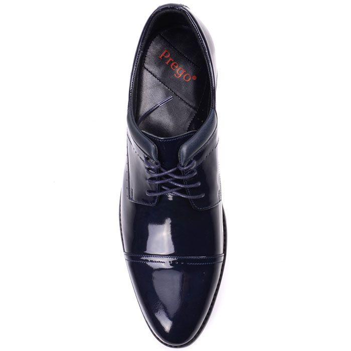 Туфли на шнуровке Prego из натуральной лаковой кожи синего цвета