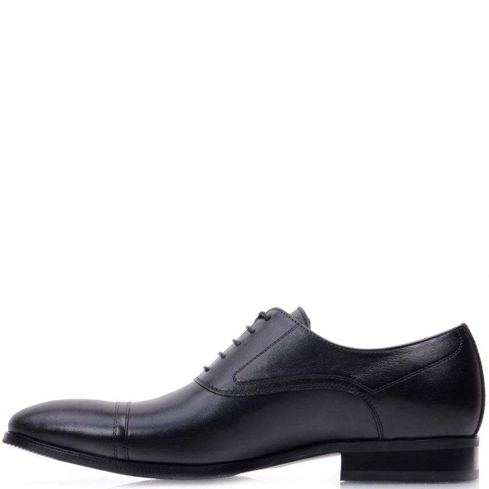 Кожаные лоферы Prego черного цвета на шнуровке