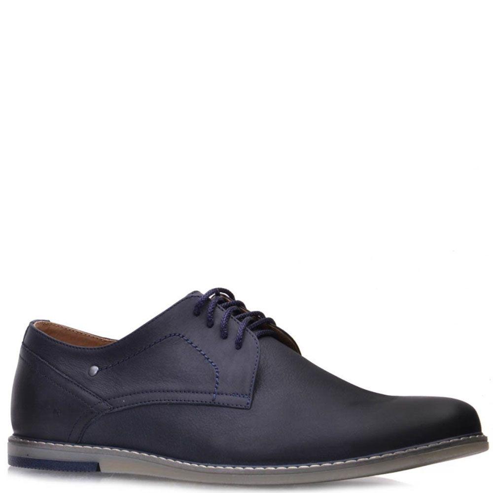 Туфли Prego из натуральной кожи синего цвета на шнуровке