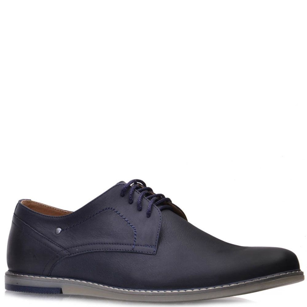 Туфли Prego из кожа синего цвета на шнуровке