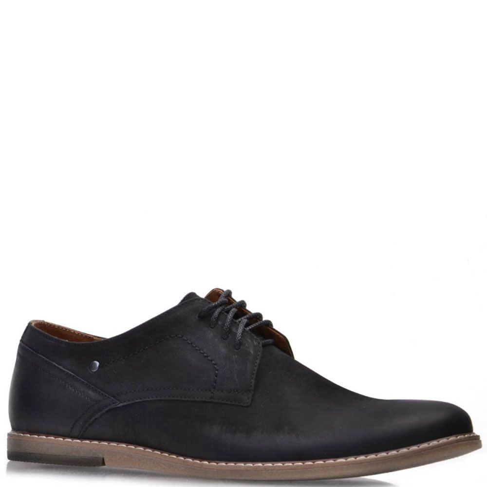 Туфли Prego из натурального черного нубука на термополиуритановой подошве