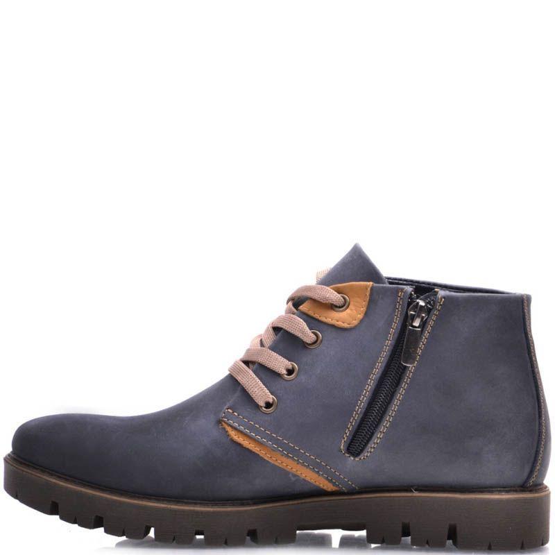 Ботинки Prego зимние синего цвета из нубука с коричневыми шнурками и коричневыми вставками