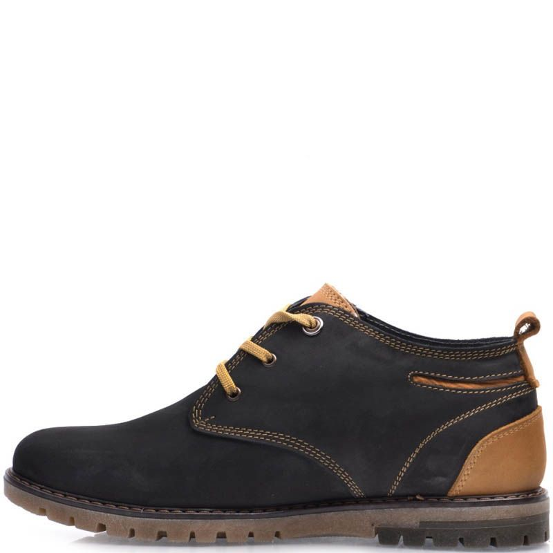 Ботинки Prego зимние черного цвета из нубука с коричневыми шнурками и коричневыми вставками