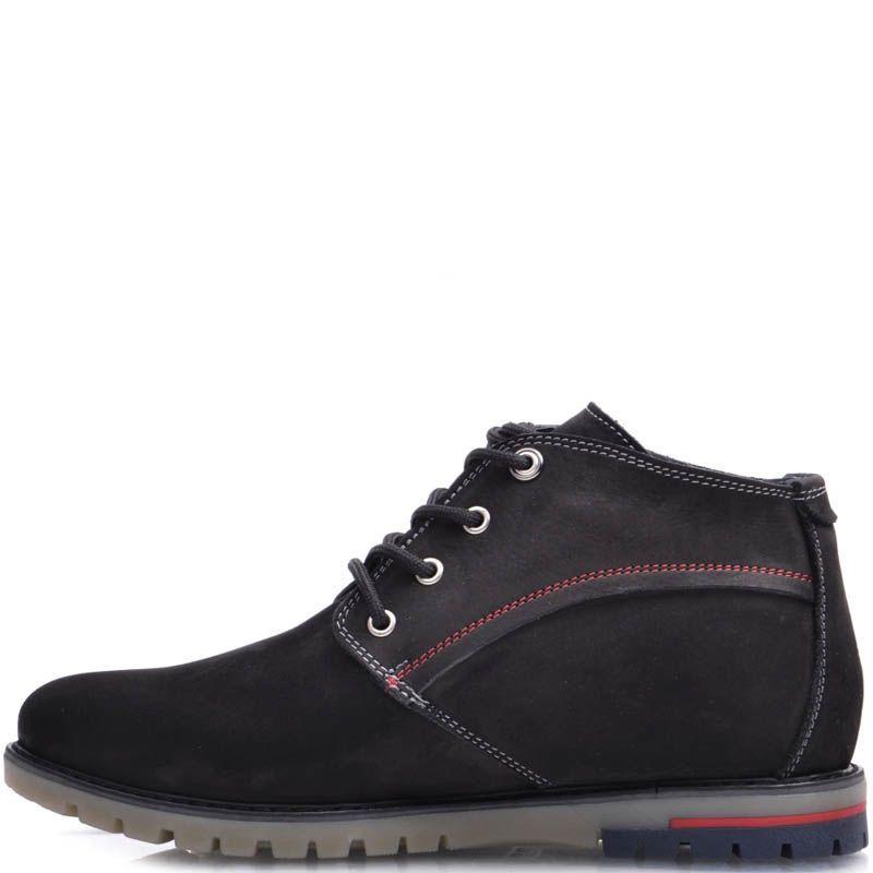 Ботинки Prego зимние на меху из нубука черного цвета с белыми и красными строчками