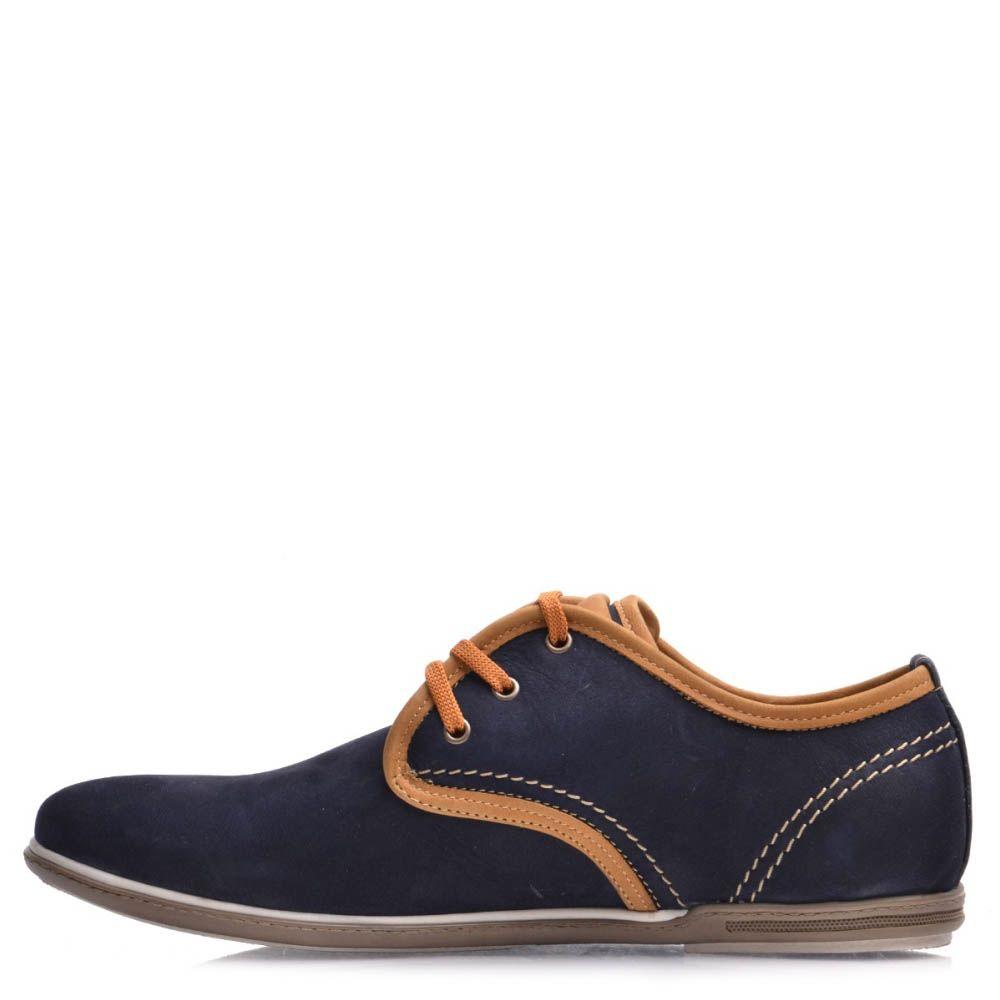 Туфли Prego мужские из синего нубука с оконовкой коричневого цвета