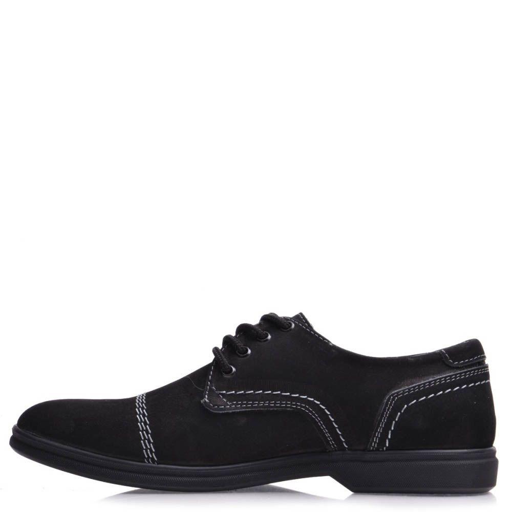 Туфли Prego мужские из черного нубука с белыми строчками