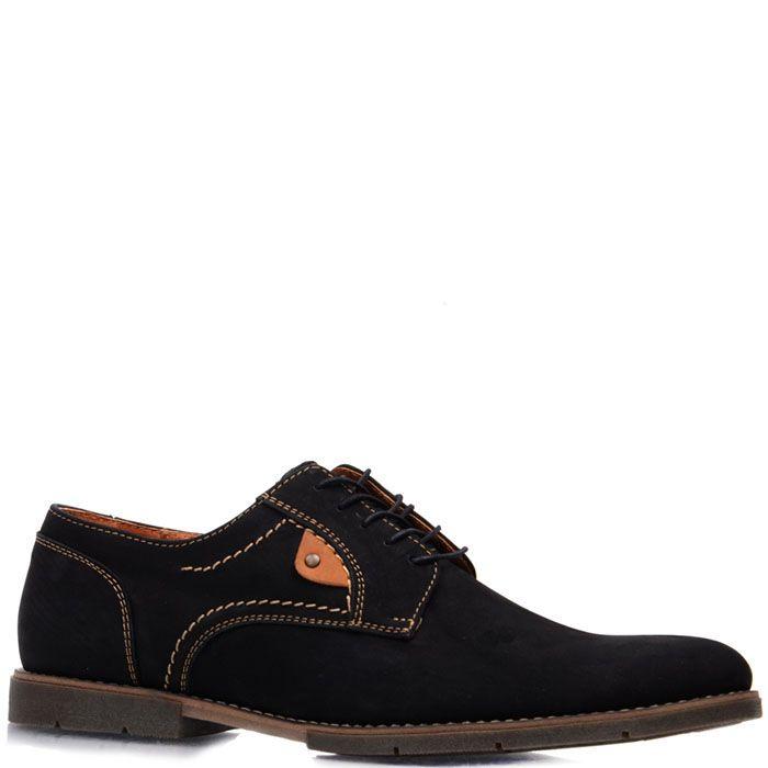 Туфли Prego из замши черного цвета с коричневой строчкой