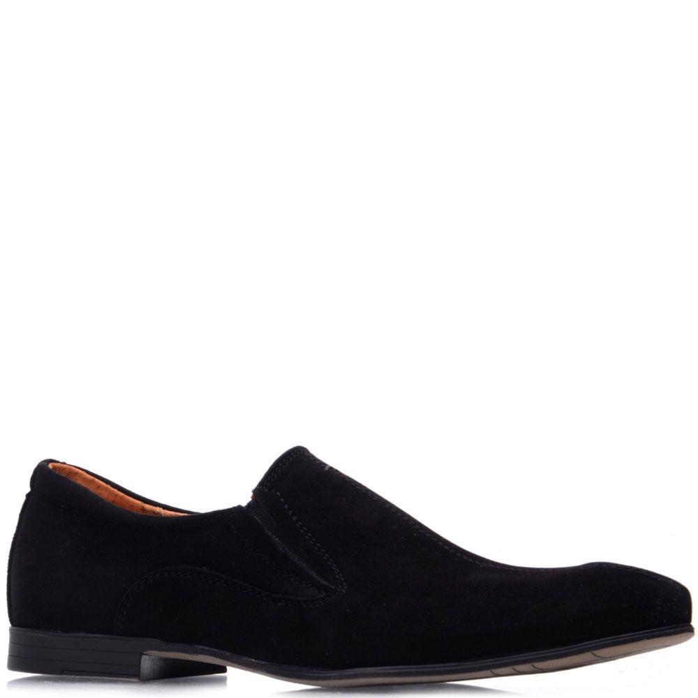 Замшевые туфли Prego черного цвета со вставками-резинками