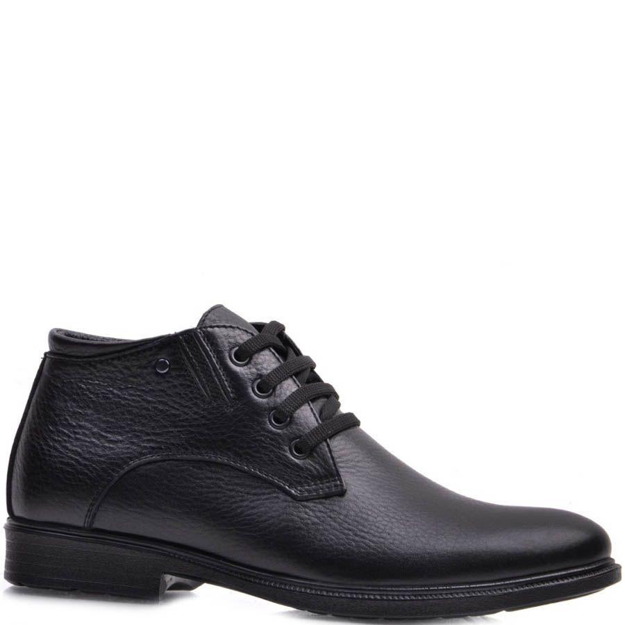 Ботинки Prego зимние из слегка зернистой кожи черного цвета и на шнуровке