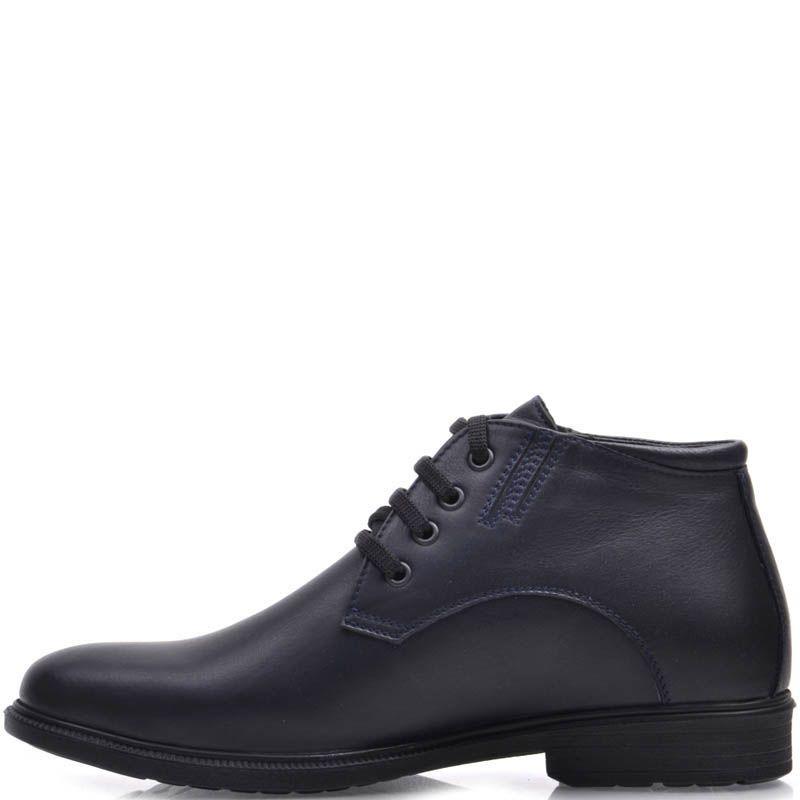 Ботинки Prego зимние на меху синего цвета с черными шнурками
