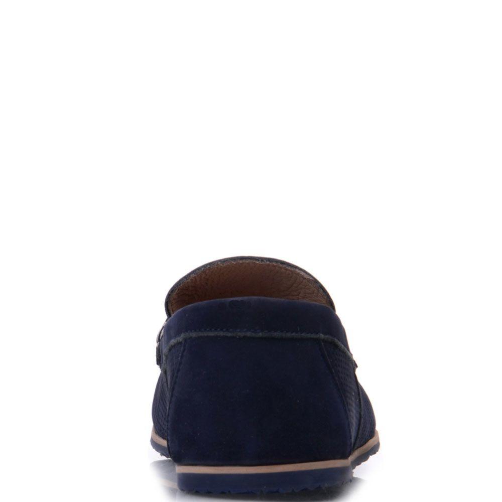 Мокасины Prego из нубука синего цвета с перфорацией