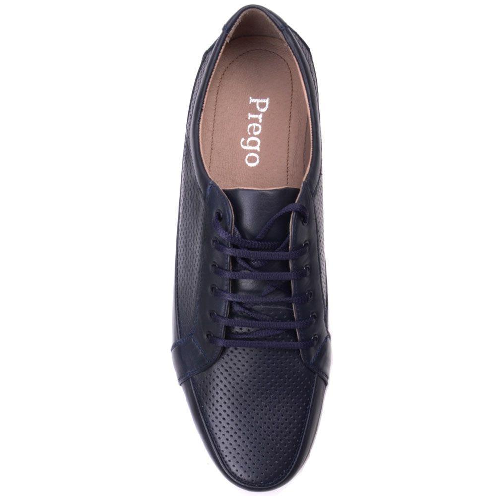 Туфли Prego из натуральной перфорированной кожи синего цвета