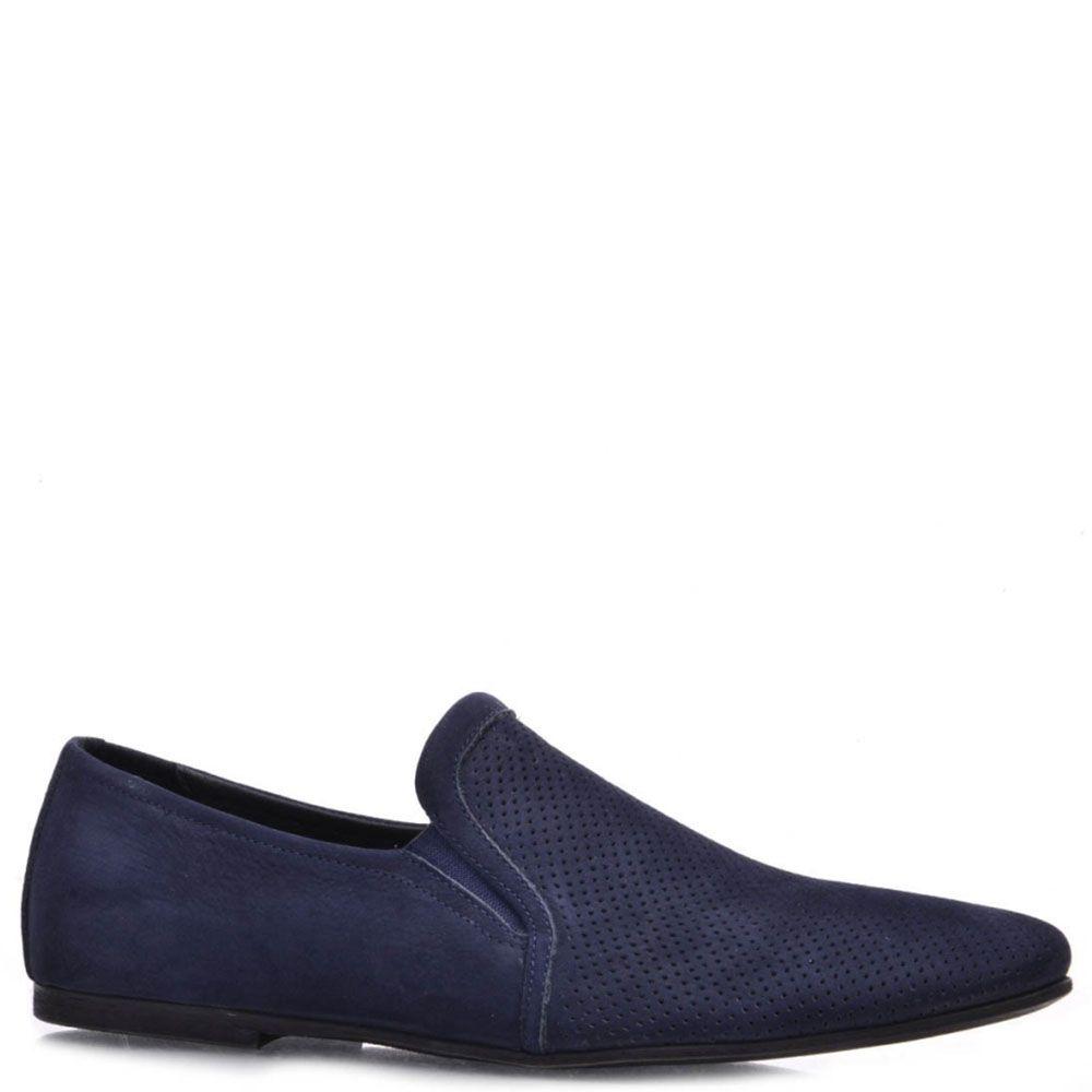 Туфли Prego из натурального нубука синего цвета с частичной перфорацией