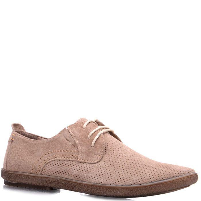 Замшевые туфли Prego бежевого цвета с мелкой перфорацией