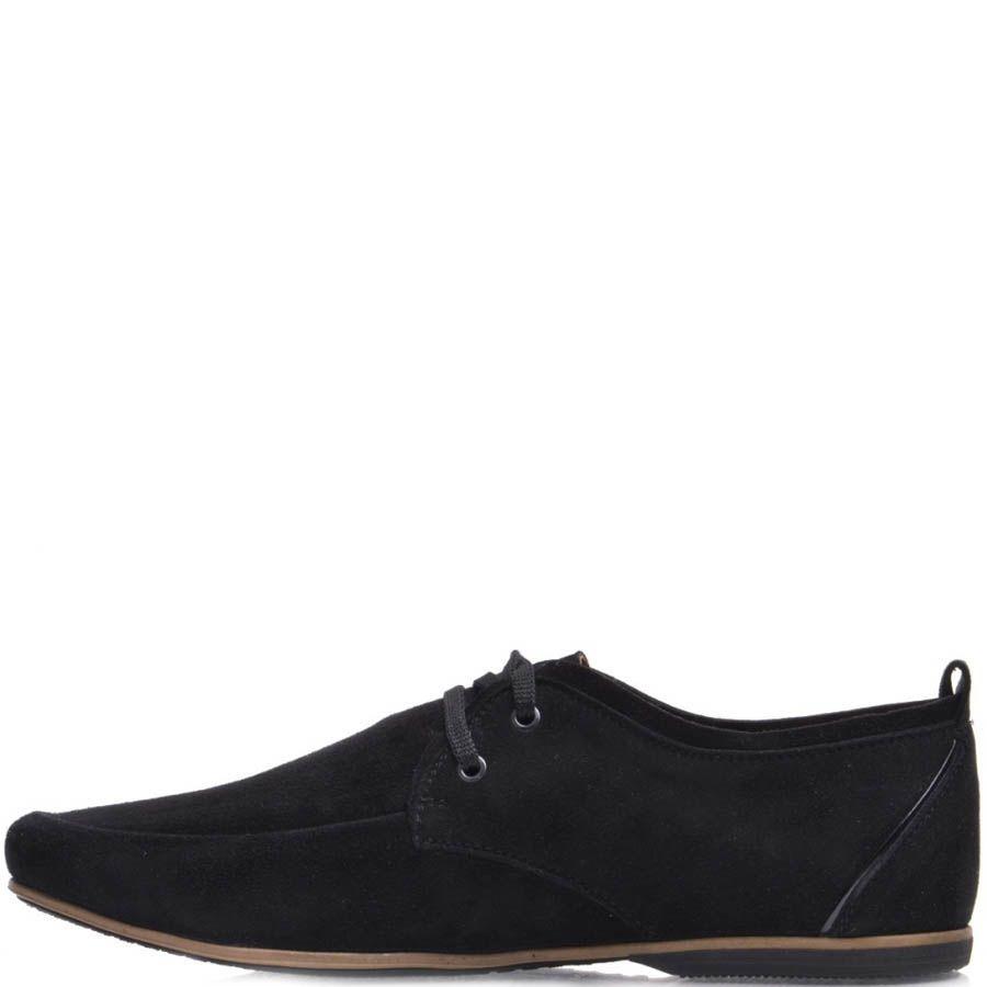 Туфли Prego мужские замшевые черного цвета с кожаной нашивкой