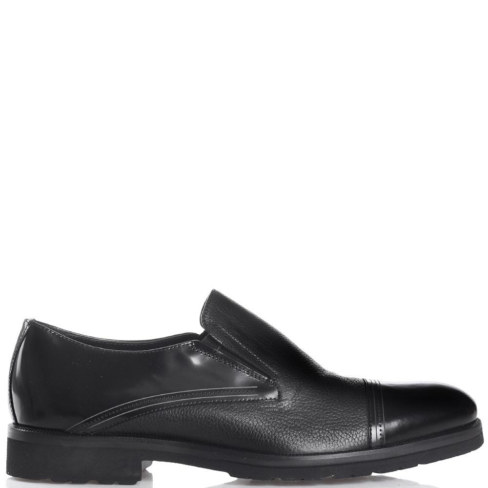 Черные туфли Giampiero Nicola из комбинации гладкой и зернистой кожи