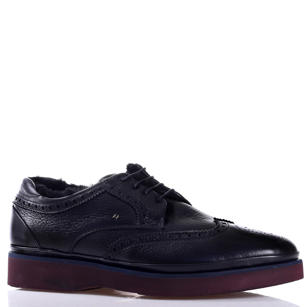 Утепленные туфли-броги Luca Guerrini из черной мягкой кожи