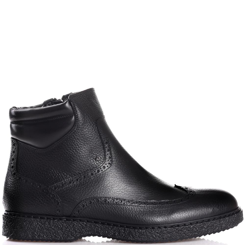 Черные ботинки-броги Luca Guerrini из зернистой кожи