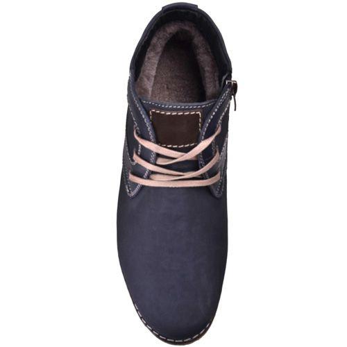 Ботинки зимние Lucky Choice из темно-синего нубука с бежевыми шнурками, фото