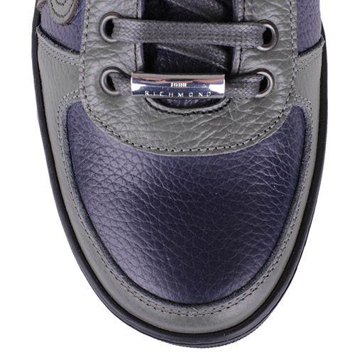 Ботинки John Richmond зимние синего цвета со вставками из синей и серой кожи, фото