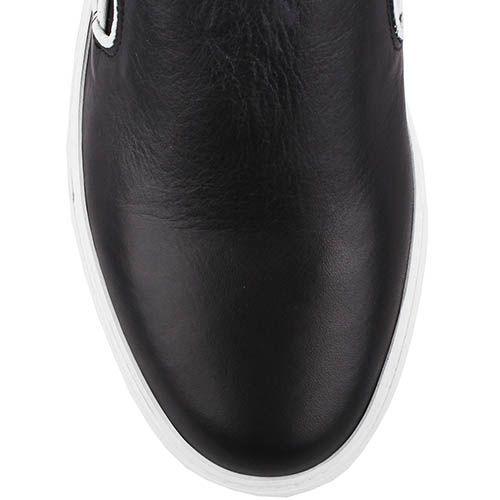 Кожаные мокасины Richbobois черного цвета с вставкой-резинкой, фото