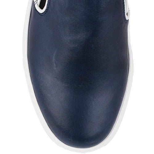Кожаные мокасины Richbobois темно-синего цвета на белой подошве, фото