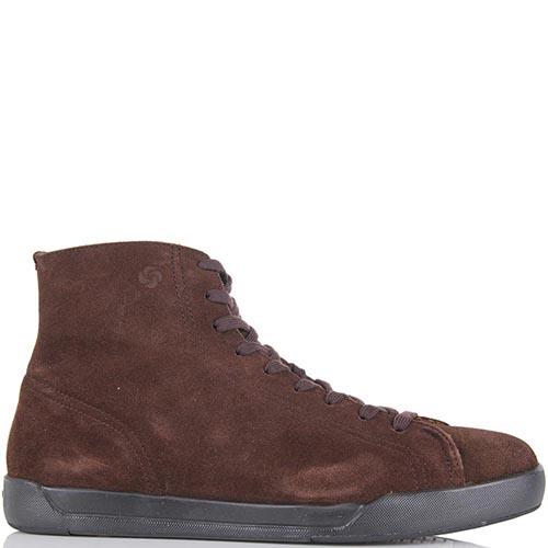 Ботинки Samsonite из натуральной замши шоколадного цвета на меху, фото