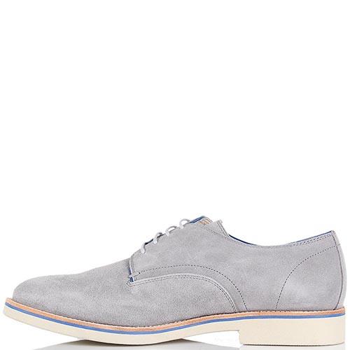 Мужские туфли Samsonite из натуральной замши светло-серого цвета на белой подошве, фото