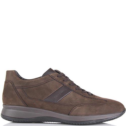 Мужские кроссовки Samsonite из нубука коричневого цвета с кожаной вставкой, фото