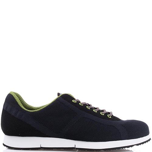Текстильные мужские кроссовки Bikkembergs темно-синего цвета с зеленой шнуровкой, фото
