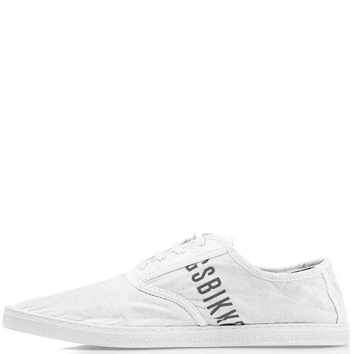 Легкие мужские мокасины Bikkembergs белого цвета с брендированными полосками, фото