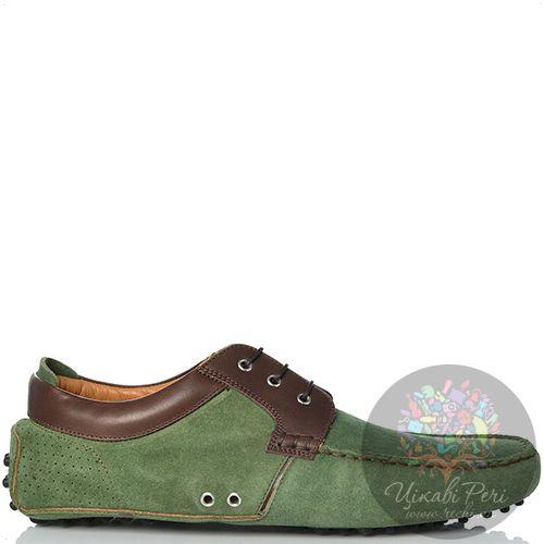 Туфли Sutor Mantellassi на шипованной подошве замшевые зеленые с коричневой кожаной отделкой, фото