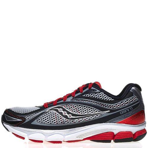 Беговые кроссовки Saucony ProGrid Omni 11 Med серо-черные с красной отделкой, фото