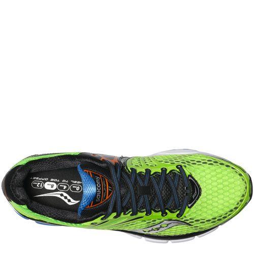 Беговые мужские кроссовки Saucony Triumph 11 зеленые с голубым и оранжевым, фото