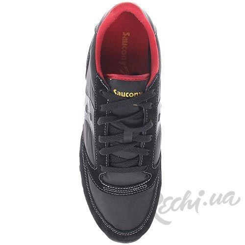 Мужские кроссовки Saucony Jazz Original черные с красными вставками, фото