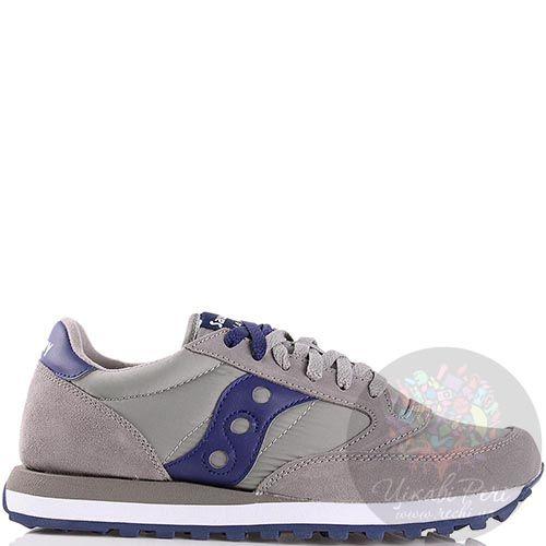 Мужские кроссовки Saucony Jazz Original серо-бежевые с синей вставкой, фото