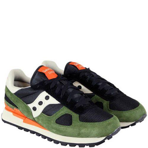 Мужские кроссовки Saucony Shadow Original зеленые с оранжевым и черным, фото