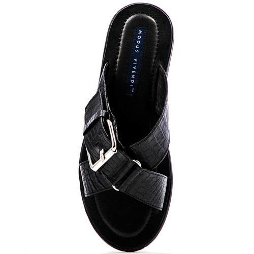 Сандалии Modus Vivendi черного цвета с тиснением под кожу рептилии с декоративной пряжкой, фото