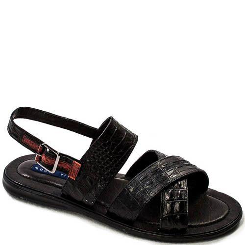Сандалии Modus Vivendi черного цвета с тиснением под кожу рептилии с коричневой вставкой и пряжкой, фото