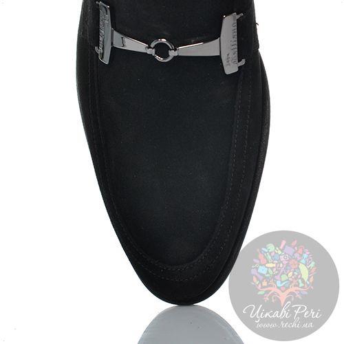Лоферы John Galliano замшевые черные с серебристой перемычкой, фото