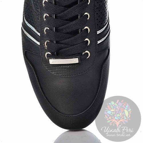 Кеды Alessandro Dell Acqua кожаные черные с перфорацией серебристыми и белыми вставками, фото